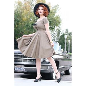 Tatyana Shame Pinup Circle Dress Taupe/Tan
